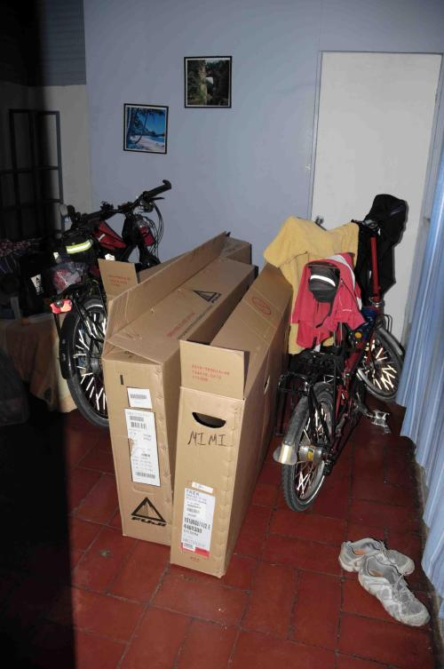 The boxes for our bikes