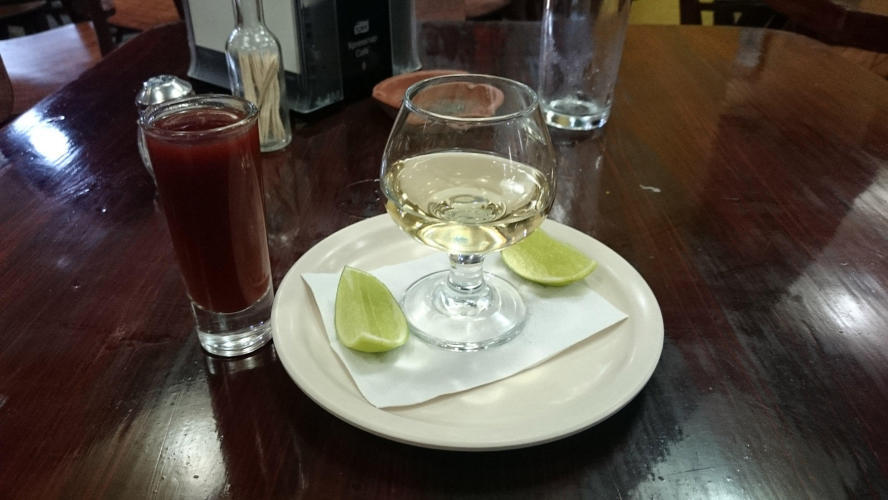 Don Julio with sangrita is like a tomate juice with herbs