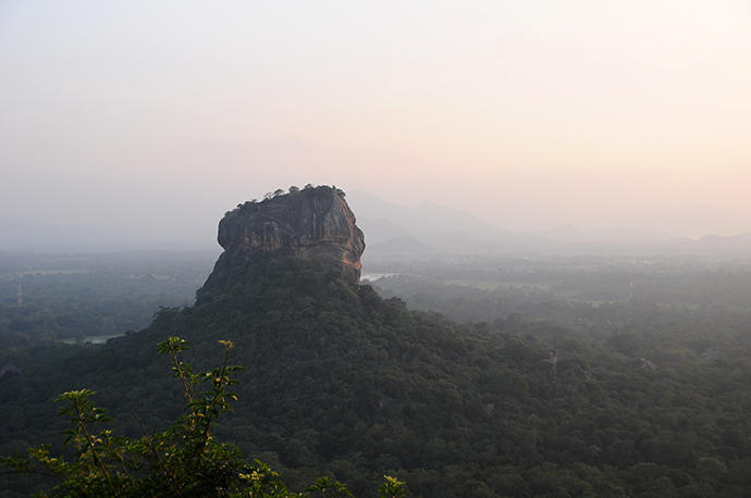 "View from above to the famous ""Sigiriyan rock"""