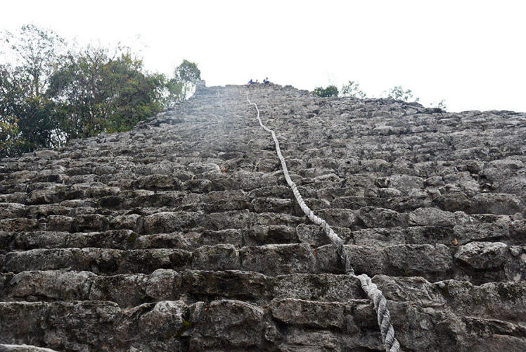 Steep climb Nohoch Mul Pyramid