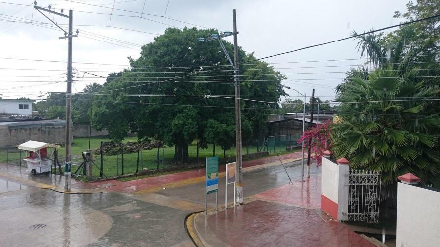 It rains a little bit