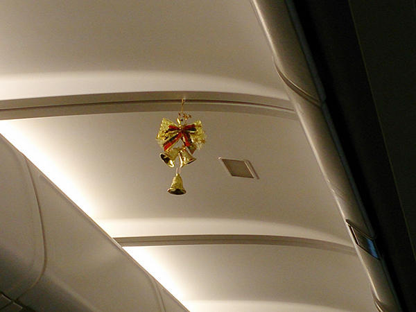 X-mas decoration inside the plane