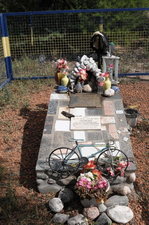 Memorial for a dead cyclist on the road to La Rioja