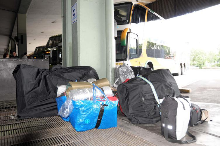 Our luggage at Retiro Central Bus Station,Bs As