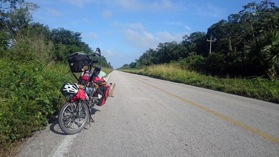 The road still empty