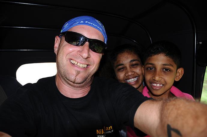 Inside the tuk tuk going to Dambulla