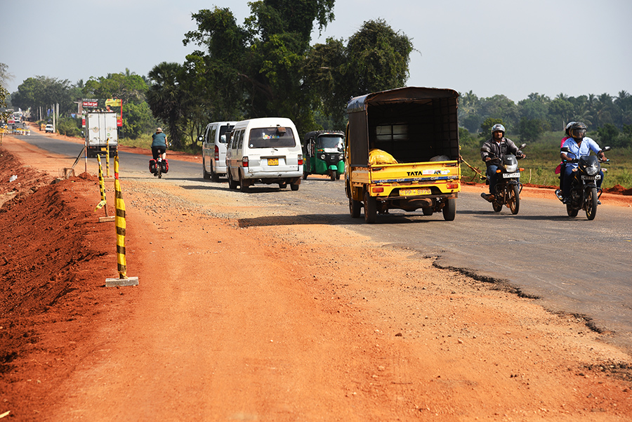 No shoulder road under construction
